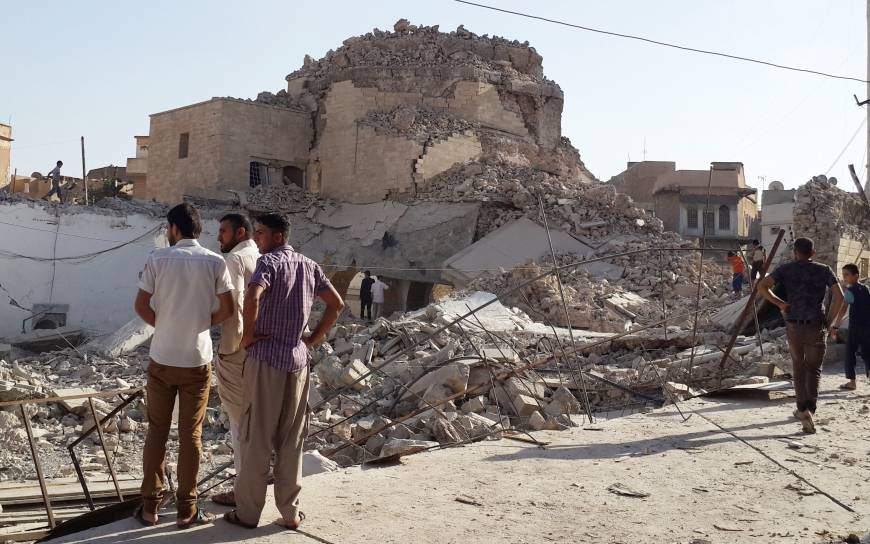 The mosque of Prophet Jarjis in Mosul (Iraq), demolished by the ISIS
